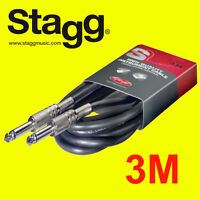 Stagg High Quality Guitar Instrument Cable Lead 3m 10 Feet Phono SGC3 New