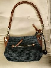 THE SAK WOVEN NAVY WITH BROWN FAUX LEATHER TRIM & BRAIDED STRAP SHOULDER BAG