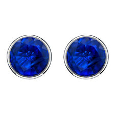 14k Solid White Gold Round Cut 2.00 Ct Blue Sapphire Stud Earrings