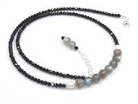 "Black Spinel /& Coral Necklace Sterling Silver 3 mm 16/"" 18/"" St Patricks Day 811"
