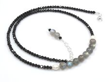 "Natural Black Spinel & Labradorite Necklace Sterling Silver 3 mm 16"" 18"" to 24"""