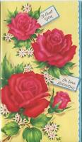 VINTAGE BRIGHT RED VIVID GARDEN ROSES FLOWERS PINK HUES BIRTHDAY CARD ART PRINT