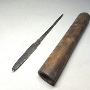 E0130: Japanese real old SAMURAI high-quality steel spear head YARI with sheath