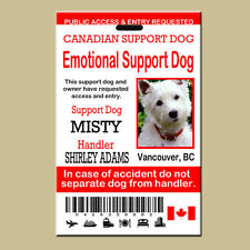 Canadian Service Emotional Support Dog ID Card, Emotional Support Animal Card