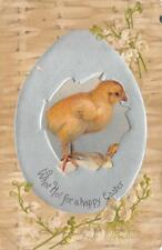 EASTER HOLIDAY CHICK DELTIOLOGY MESSAGE EMBOSSED POSTCARD 1908