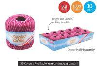 10 x Super Soft Crochet Cotton Ball 50g Wool Yarn Multi Burgandy NEW (WIN-100)