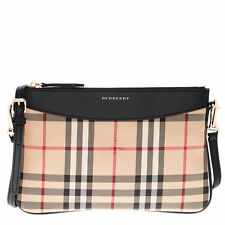 Burberry Women's Horseferry Check Peyton Embossed logo, Trim Leather Clutch Bag