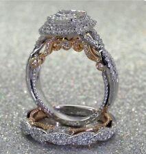2Pcs/Set White Topaz 925 Silver Women Jewelry Wedding Engagement Ring Sz 5-10