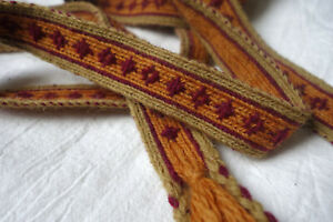 Early medieval tablet woven belt. Handwoven, brocaded and plant dyed