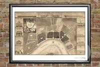 Old Map of New Orleans, LA from 1817 - Vintage Louisiana Art, Historic Decor