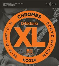 D'Addario ECG-26 XL Chromes Flat Wound Electric Guitar Strings 13-56 medium