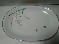 "Heinrich Bavaria China ""Wild Grasses/Butterfies"" Oval 13"" Serving Platter"