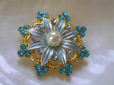 Flower & Blue Rhinestone Edge Accents Estate Blue Enamel with Faux Pearl Center