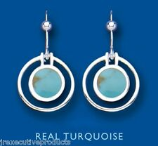Turquoise Earrings Sterling Silver Drop Round Stone Drops