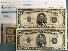 1934-C two $5 Silver Certificate Notes - Blue Seal - VF