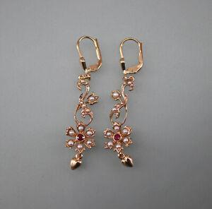 9906040 925er Silber rotvergoldet Jugendstil Ohrringe mit Rubin Perlen