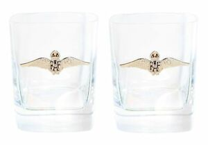 RAF Sweetheart Wings Pair of Crystal Tumblers WT Whiskey Glasses & Box Gift ME2