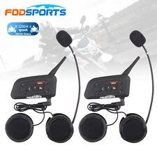 2x BT Bluetooth Motorcycle Casque Interphone Intercom Headset 6 Riders 1200M V6