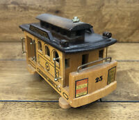 Wooden Musical Wind Up Music Box San Francisco Cable Car Street Car Works