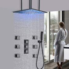 Thermostaic grifo de la ducha Combo 20 pulgadas LED de Ducha de Lluvia Sistema Masajeador de cabeza Jet