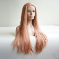 Heat Resistant Fashion Lace Front Wig Long Straight 24 inches Pink