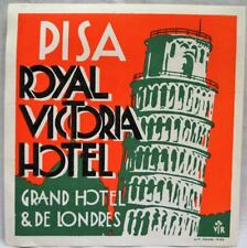 ROYAL VICTORIA HOTEL PISA ITALY ADVERTISING LUGGAGE LABEL DECAL VINTAGE TRAVEL