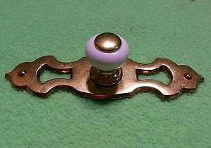 Set of 12 vintage KEELER KBC N14616 TWO piece Brass Porcelain PULLS. Center hole