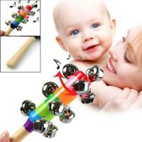 Wooden Jingle Hand Bells Percussion Kids Baby Musical Instrument Shaker Toys SS