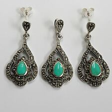ART DECO STYLE TURQUOISE MARCASITE SET EARRINGS 925 STERLING SILVER