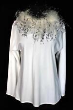 Vintage 604ms Blanc Poly chemisier avec plume d'AUTRUCHE TAILLE DU COLLIER 36-38