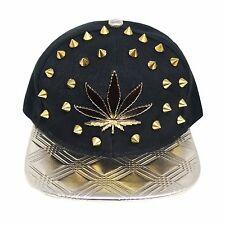 Bling caps hip hop flat peak snapback casquette de baseball chapeaux (stud leaf/noir 036)