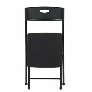 Mainstays Portable Resin Seat Folding Chair With Open Handle Black, Set of 2