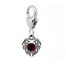 Antique Silver January Rhinestone Heart Clip On Charms. Fits Thomas Sabo 26x10mm