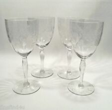 """Crystal by Standard Glass Etched  Cut 136 Circa 1932 Stems 4 - 7 1/4"""" Water Wine"""