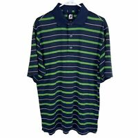 FootJoy FJ Men's Golf Polo Shirt Medium Navy Blue Green White Striped S/S
