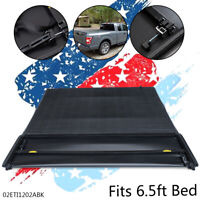 For 04-08 FORD F150 Pickup Truck 6.5ft Bed Soft 4-Fold Tonneau Cover Black
