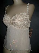 Claire Pettibone VTG Luxury Lingerie Cami Fleur Embellished Lace Cami M NWT $140