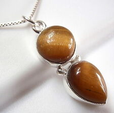 Tiger Eye Double Gem 925 Sterling Silver Necklace Round Teardrop New
