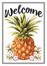"WELCOME PINEAPPLE EMBOSSED METAL SIGN 10X14"" HOME BEACH HOUSE PATIO WALL HANGING"