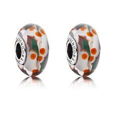 set 2 two Pandora Christmas Holly Murano Glass Charm Bead # 791647 christmas
