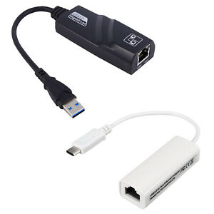 USB 3.0 to Gigabit Ethernet / USB C Type C to Ethernet RJ45 LAN Adapter Cable
