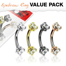 4pc Value Pack Double Prong Set Gem Steel Eyebrow Rings 16g Body Jewelry