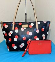 Kate Spade PolkaDot Zip Top Tote Shoulderbag Carryall Travel Bag w/Wristlet MINT