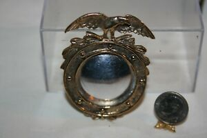 Miniature Dollhouse Vintage Brass Federal Wall Mirror w Eagle 1:12 No Reserve