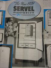 Vintage 1939 Advetising Pamphlet Servel Electrolux Gas Refrigerator Folded