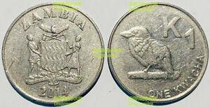 Zambia 1 Kwacha 2012-2017 Bird 24mm steel coin km209