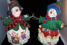 HUGE Pair ENESCO Figures! SNOWMAN and SNOWGIRL! 18 Inches High! CUTE!!