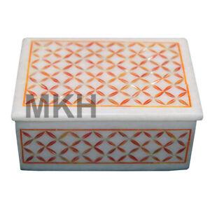 White Marble Jewelry Box Inlay Gem Stones Work Boxes Pietra Dura Vintage Mosaic