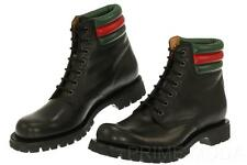 NEW GUCCI MEN'S CURRENT BLACK LEATHER WEB DETAIL LACE-UP CASUAL BOOTS 8.5/US 9