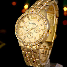 MENS SNOOP DOGG LAB FAUX DIAMOND STUDDED GOLD DRESS WATCH Fashion Military 34